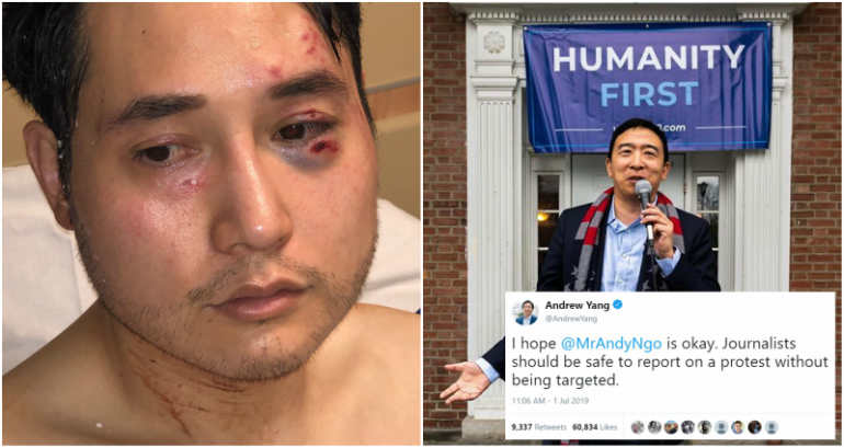 Andrew Yang Sends Well-Wishes to Conservative Journalist Attacked in Portland