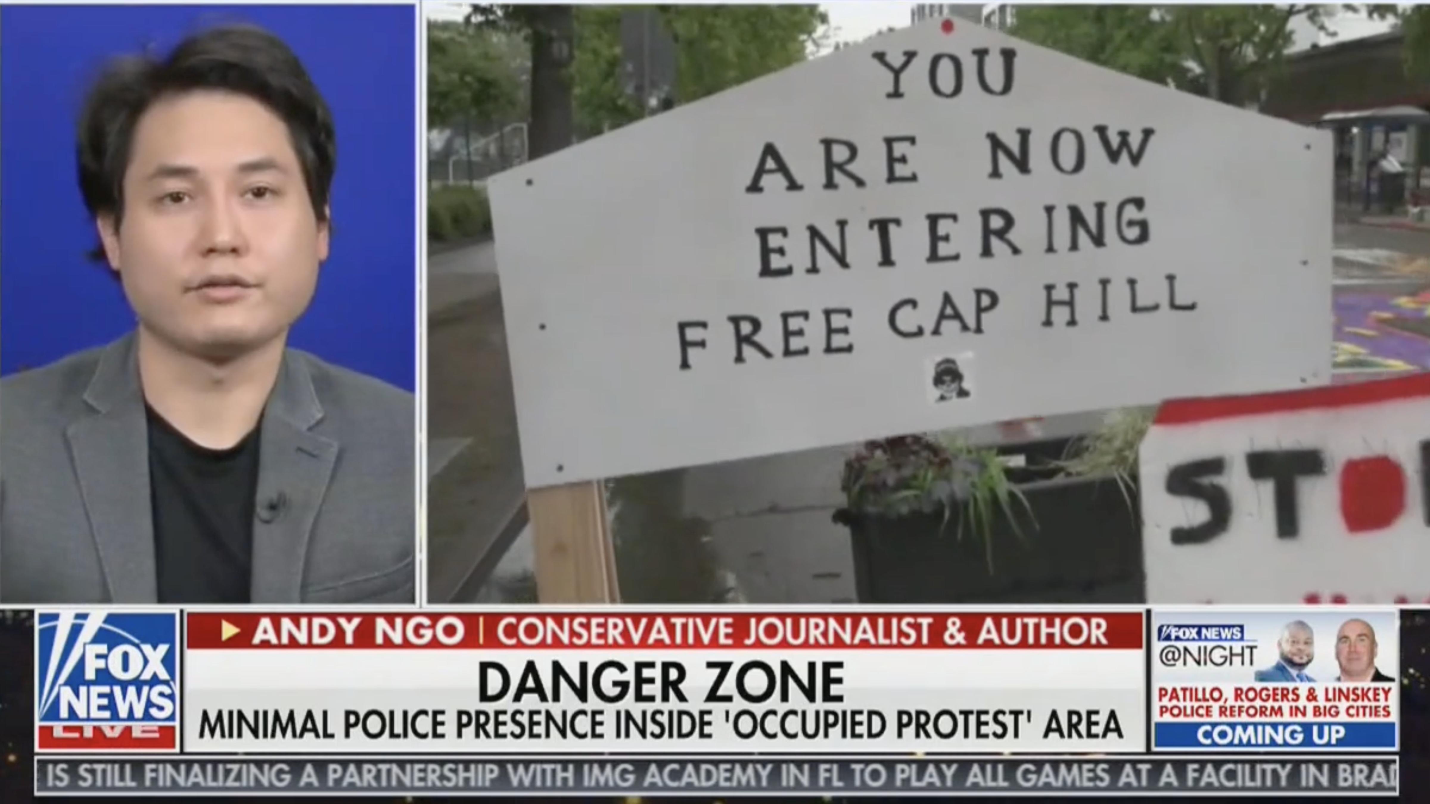 "Andy Ngo joins Fox News @ Night to discuss Antifa's ""Autonomous Zone"" in Seattle"